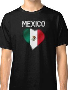 Mexico - Mexican Flag Heart & Text - Metallic Classic T-Shirt