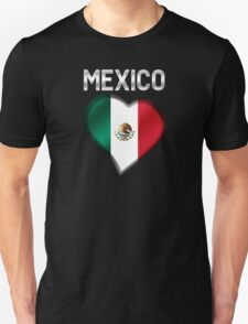 Mexico - Mexican Flag Heart & Text - Metallic T-Shirt