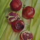 Pomegranates on green yellow silk by Yuliya Glavnaya
