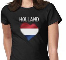 Holland - Dutch Flag Heart & Text - Metallic Womens Fitted T-Shirt