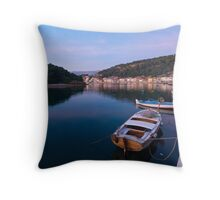 Calm sea in port Throw Pillow