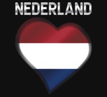 Nederland - Dutch Flag Heart & Text - Metallic Kids Clothes