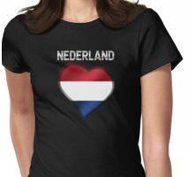 Nederland - Dutch Flag Heart & Text - Metallic Womens Fitted T-Shirt