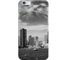 City - Chicago IL -  Chicago Skyline & The Navy Pier BW iPhone Case/Skin