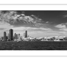 City - Chicago IL -  Chicago Skyline & The Navy Pier BW Sticker