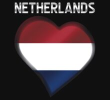 Netherlands - Dutch Flag Heart & Text - Metallic Kids Clothes