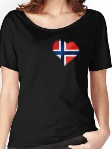 Norwegian Flag - Norway - Heart Women's Relaxed Fit T-Shirt