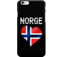 Norge - Norwegian Flag Heart & Text - Metallic iPhone Case/Skin