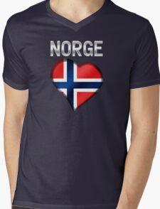 Norge - Norwegian Flag Heart & Text - Metallic Mens V-Neck T-Shirt