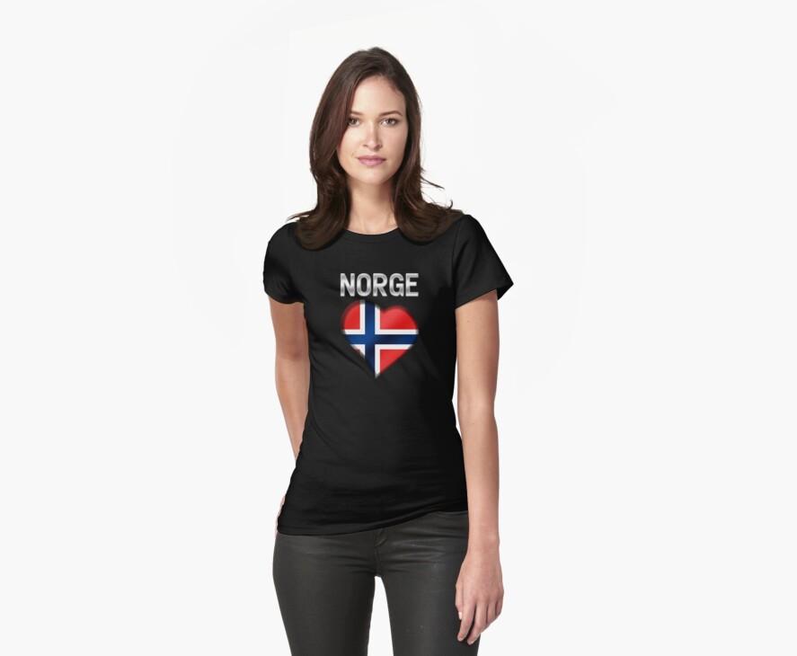 Norge - Norwegian Flag Heart & Text - Metallic by graphix