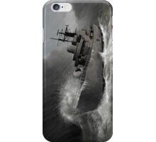 Battleship braving the storm iPhone Case/Skin