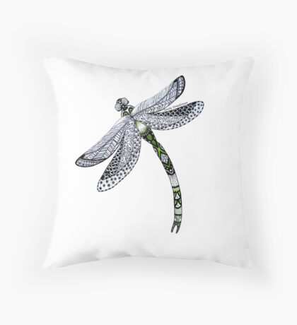 Zentangle Emerald Dragonfly Throw Pillow