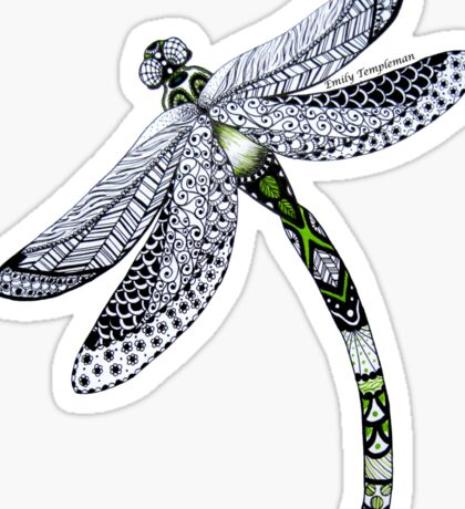 Zentangle Emerald Dragonfly Sticker