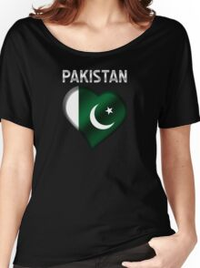 Pakistan - Pakistani Flag Heart & Text - Metallic Women's Relaxed Fit T-Shirt