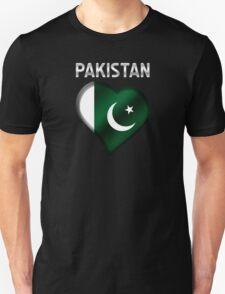 Pakistan - Pakistani Flag Heart & Text - Metallic T-Shirt