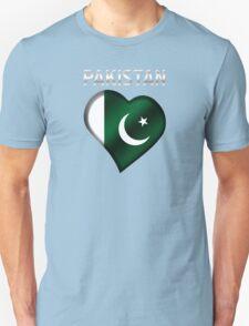 Pakistan - Pakistani Flag Heart & Text - Metallic Unisex T-Shirt