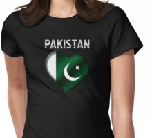 Pakistan - Pakistani Flag Heart & Text - Metallic Womens Fitted T-Shirt