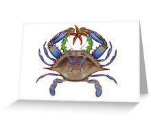 Blue Crab Wreath Greeting Card