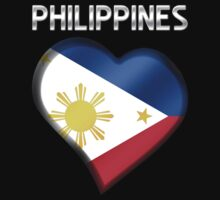 Philippines - Filipine Flag Heart & Text - Metallic One Piece - Short Sleeve