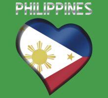 Philippines - Filipine Flag Heart & Text - Metallic Baby Tee