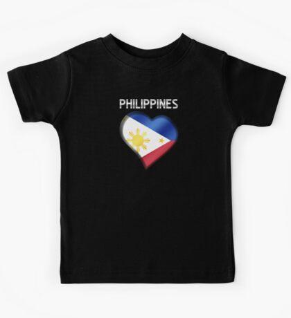 Philippines - Filipine Flag Heart & Text - Metallic Kids Tee