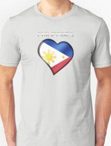 Philippines - Filipine Flag Heart & Text - Metallic T-Shirt