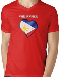 Philippines - Filipine Flag Heart & Text - Metallic Mens V-Neck T-Shirt