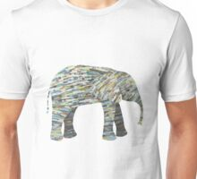 Elephant Paper Collage in Gray, Aqua and Seafoam Unisex T-Shirt