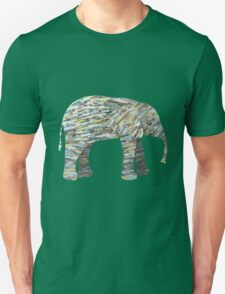 Elephant Paper Collage in Gray, Aqua and Seafoam T-Shirt
