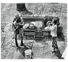 Street Musicians, Playing For Bucket Money Poster
