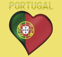 Portugal - Portuguese Flag Heart & Text - Metallic One Piece - Short Sleeve