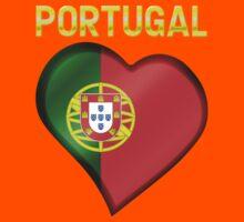 Portugal - Portuguese Flag Heart & Text - Metallic Kids Tee