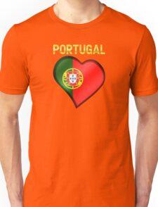 Portugal - Portuguese Flag Heart & Text - Metallic Unisex T-Shirt