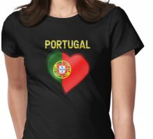 Portugal - Portuguese Flag Heart & Text - Metallic Womens Fitted T-Shirt