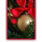 Merry Christmas - Gold bauble by Gillian Cross