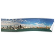City - Chicago IL -  Chicago Skyline & The Navy Pier BW Poster