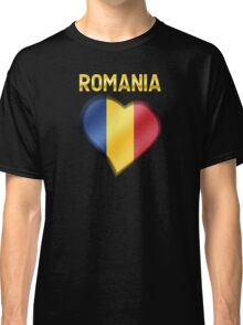 Romania - Romanian Flag Heart & Text - Metallic Classic T-Shirt