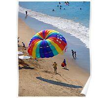 Colourful parachute at Olas Altas Beach - Paracaídas colorido, Puerto Vallarta, Mexico Poster