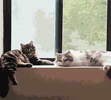 Windowsill Watchcats by phillaine
