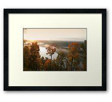 Sunrise, fog, river in autumn  Framed Print