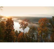 Sunrise, fog, river in autumn  Photographic Print