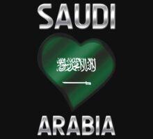 Saudi Arabia - Saudi Arabian Flag Heart & Text - Metallic Kids Tee