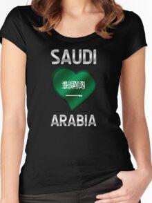 Saudi Arabia - Saudi Arabian Flag Heart & Text - Metallic Women's Fitted Scoop T-Shirt