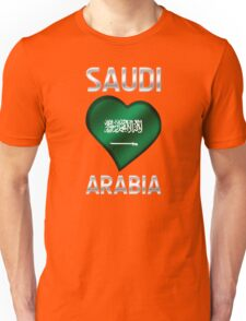 Saudi Arabia - Saudi Arabian Flag Heart & Text - Metallic Unisex T-Shirt