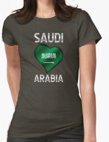 Saudi Arabia - Saudi Arabian Flag Heart & Text - Metallic T-Shirt