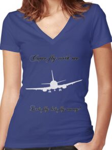 Let's Fly Women's Fitted V-Neck T-Shirt