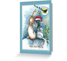 Christmas Dog and Cat Greetings Greeting Card