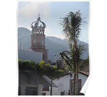 The crown at the main tower of the Parroquia de la Virgen de Guadalupe Poster