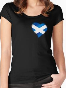 Scottish Flag - Scotland - Heart Women's Fitted Scoop T-Shirt