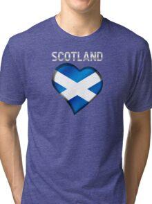 Scotland - Scottish Flag Heart & Text - Metallic Tri-blend T-Shirt